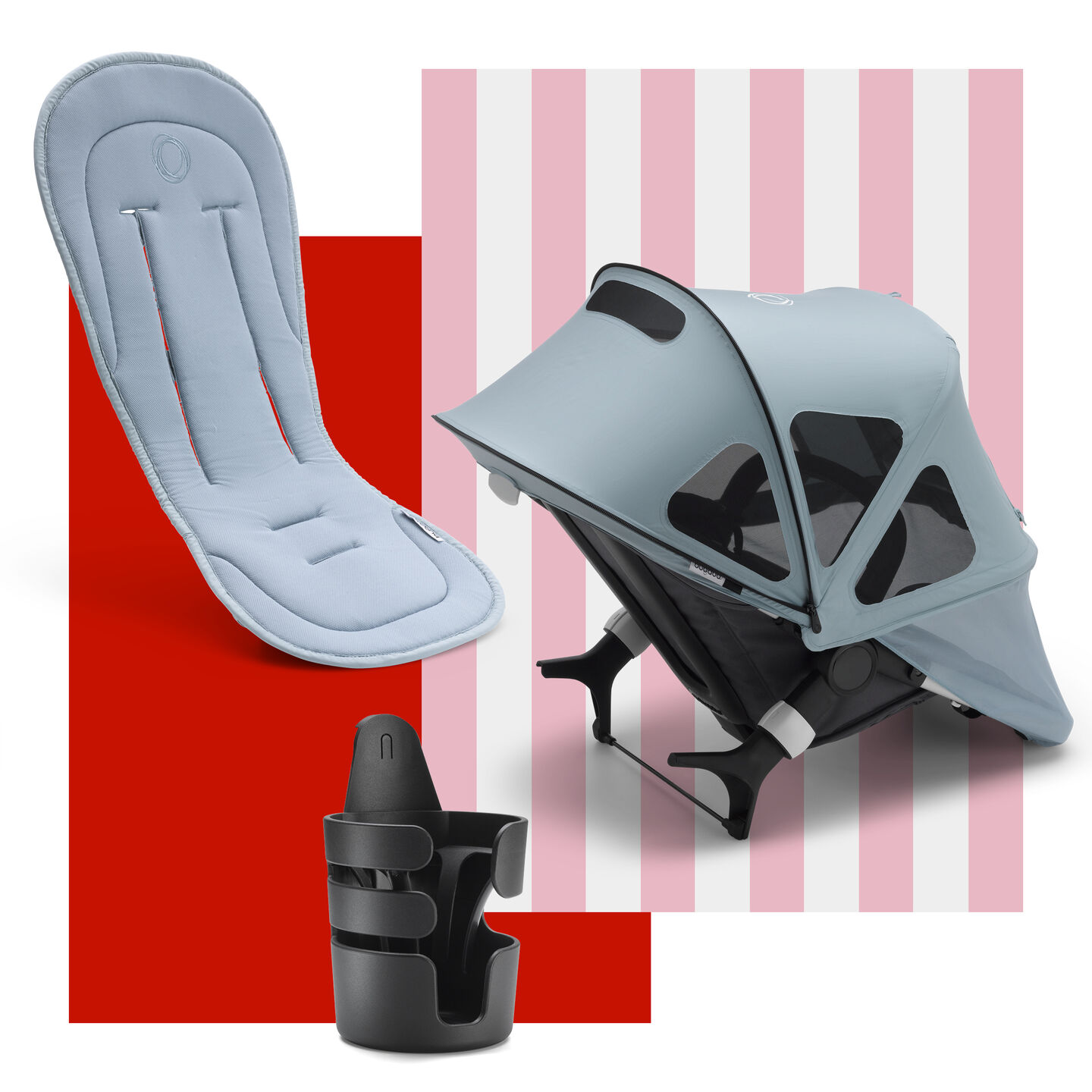 Bugaboo Fox, Cameleon 3 and Lynx spring accessories bundles: cupholder, seat liner and sun canopy.