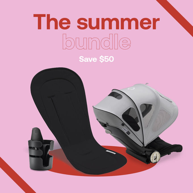 Summer accessories bundle: cupholder, seat liner and sun canopy.