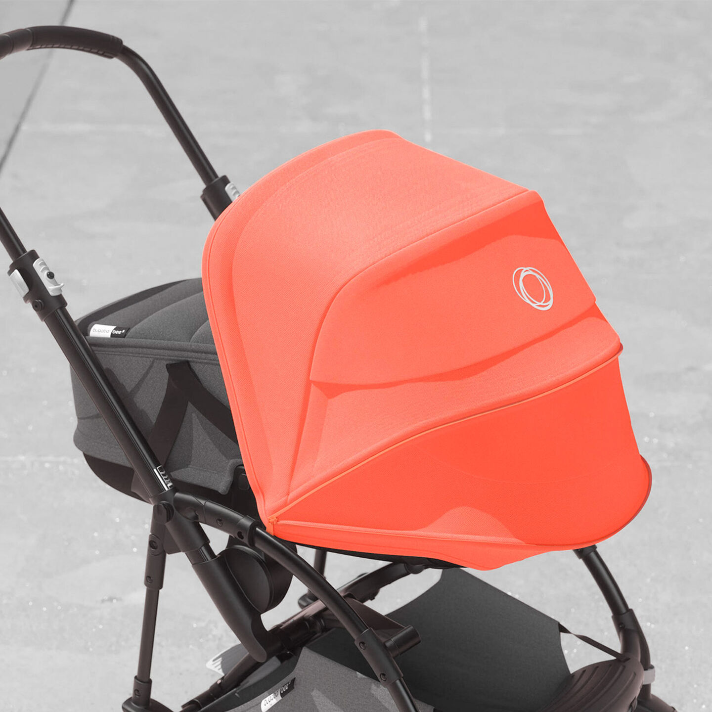 Bugaboo Bee 5 Coral sun canopy with breezy mesh panel window