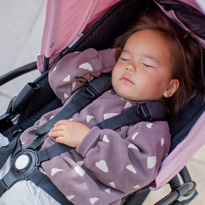 Child napping in stroller
