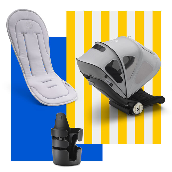 Bugaboo Bee spring accessories bundle: cupholder, seat liner and sun canopy.