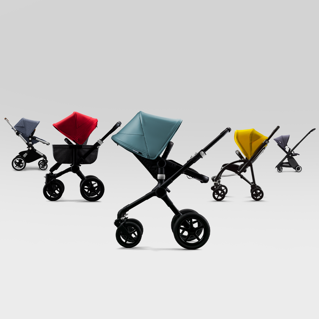 Bugaboo strollers in a line
