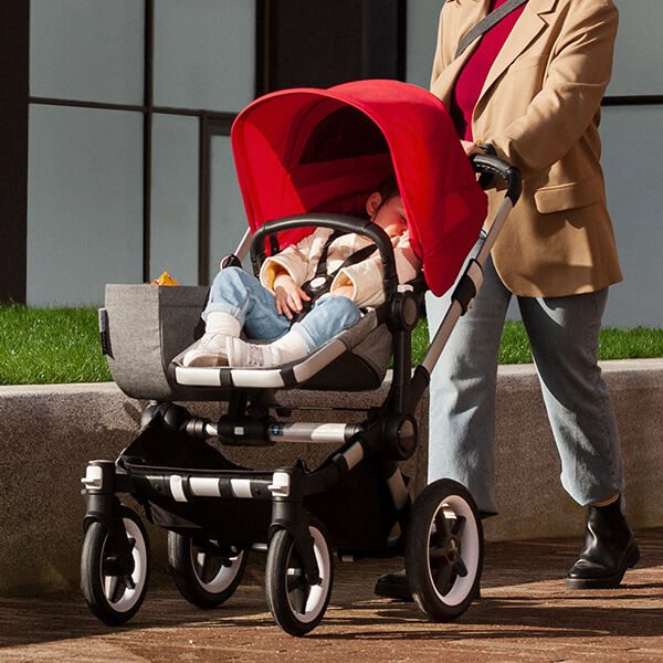 Child sleeping in stroller