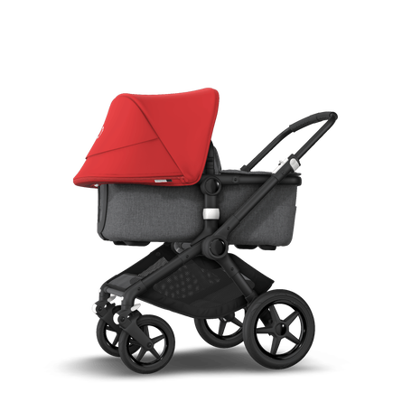 Bugaboo Fox 2 seat and bassinet stroller red sun canopy, grey melange fabrics, black base