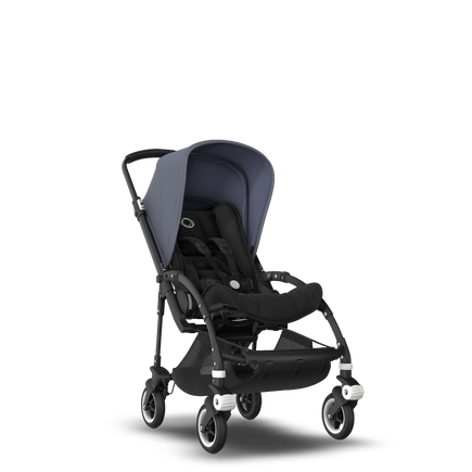 Bugaboo Bee 5 seat pushchair steel blue sun canopy, black fabrics, black base
