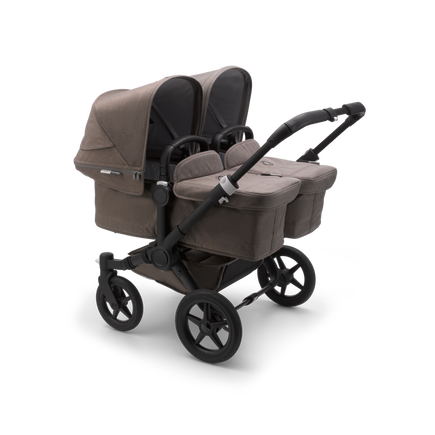 Bugaboo Donkey 3 Twin seat and bassinet stroller mineral taupe melange sun canopy, mineral taupe melange fabrics, black base