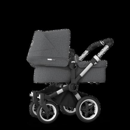 Bugaboo Donkey 3 Mono seat and bassinet stroller grey melange sun canopy, grey melange fabrics, aluminium base
