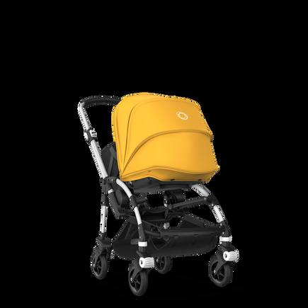 Bugaboo Bee 5 seat and bassinet stroller sunrise yellow sun canopy, black fabrics, aluminium base