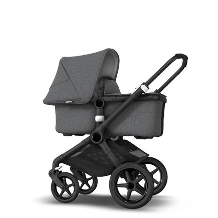 Fox 2 Seat and Bassinet Stroller Grey Melange sun canopy, Grey Melange style set, Black chassis
