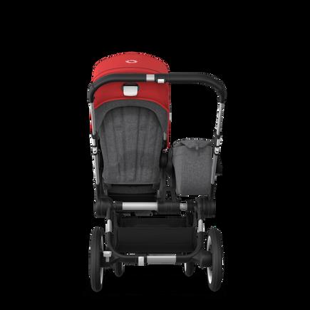 Bugaboo Donkey 3 Mono seat and bassinet stroller red sun canopy, grey melange style set, aluminium base