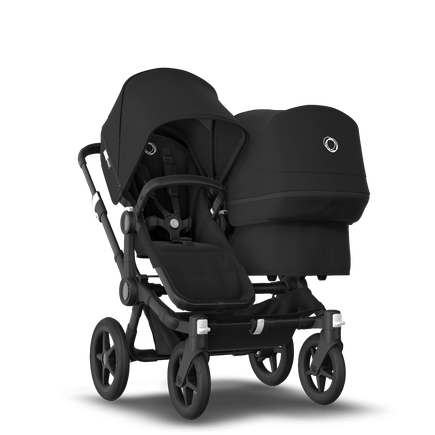 Bugaboo Donkey 3 Duo seat and bassinet stroller black sun canopy, black style set, black base