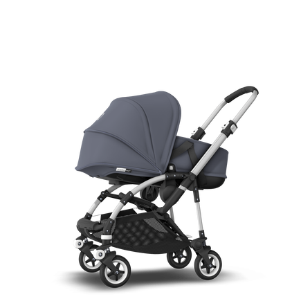 Bugaboo Bee 5 seat and bassinet stroller steel blue sun canopy, steel blue fabrics, aluminium base
