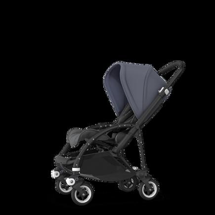 Bugaboo Bee 5 seat pushchair steel blue sun canopy, grey melange fabrics, black base