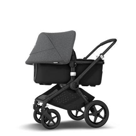 Bugaboo Fox 2 seat and bassinet stroller grey melange (nr) sun canopy, black fabrics, black base