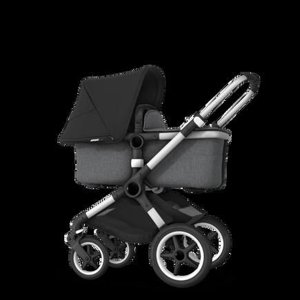 Fox 2 Seat and Bassinet Stroller Black sun canopy, Grey Melange style set, Aluminium chassis