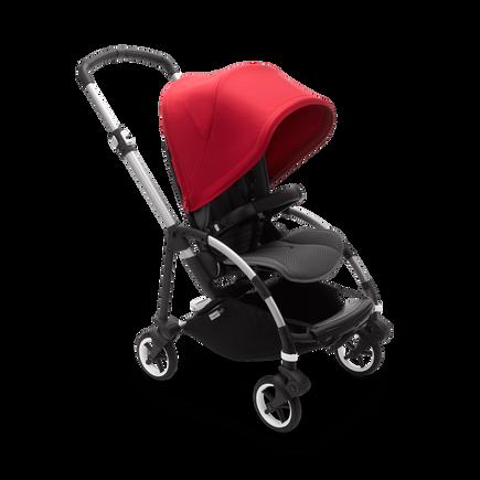 Bugaboo Bee 6 bassinet and seat stroller red sun canopy, grey mélange fabrics, aluminium base