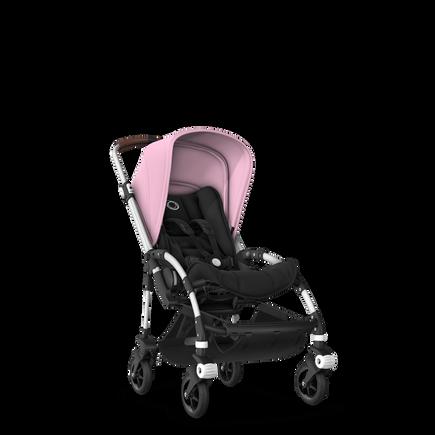 Bugaboo Bee 5 seat stroller soft pink sun canopy, black fabrics, aluminium base