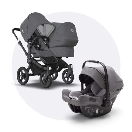 Bugaboo Donkey 3 Duo travel system grey melange sun canopy, grey melange fabrics, black base