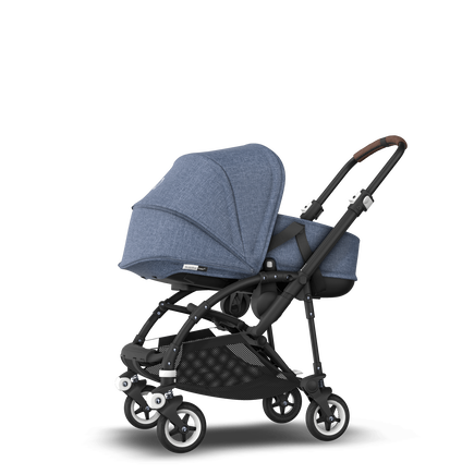 Bugaboo Bee 5 seat and bassinet stroller blue melange sun canopy, blue melange fabrics, black base