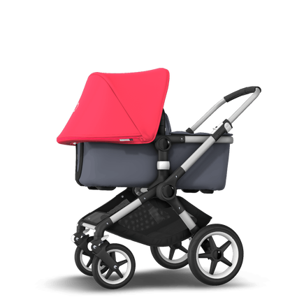 Bugaboo Fox neon red sun canopy, steel blue fabrics, aluminium chassis