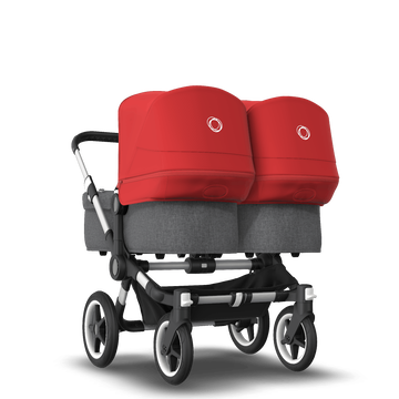 Bugaboo Donkey 3 Twin seat and bassinet stroller red sun canopy, grey melange fabrics, aluminium base