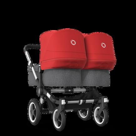 Bugaboo Donkey 3 Twin seat and bassinet stroller red sun canopy, grey melange fabrics, aluminium base