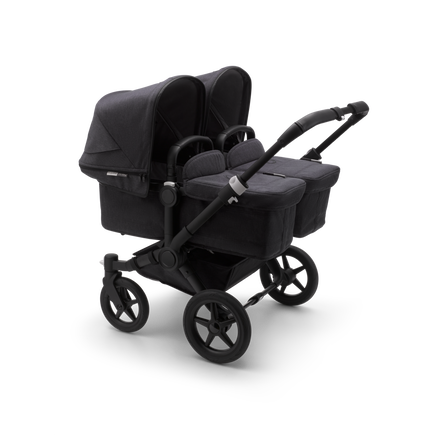 Bugaboo Donkey 3 Twin seat and bassinet stroller mineral washed black sun canopy, mineral washed black fabrics, black base