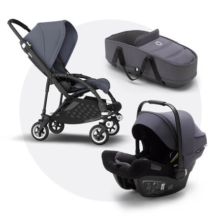 Bugaboo Bee 5 travel system steel blue sun canopy, steel blue fabrics, black base