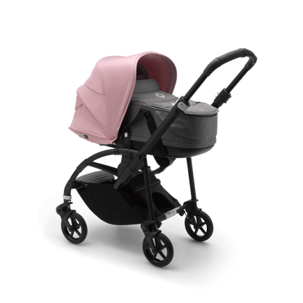 Bugaboo Bee 6 bassinet and seat stroller soft pink sun canopy, grey mélange fabrics, black base