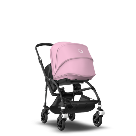 Bugaboo Bee 5 seat and bassinet stroller soft pink sun canopy, black fabrics, black base