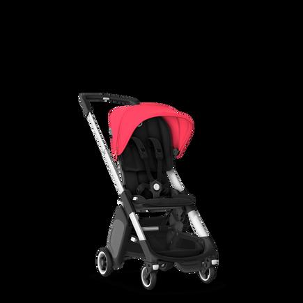 Bugaboo Ant seat stroller neon red sun canopy, black fabrics, aluminium base