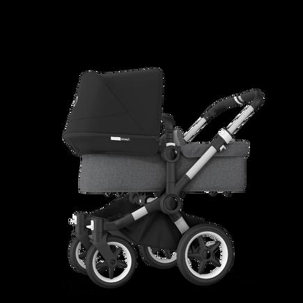 Bugaboo Donkey 3 Mono seat and bassinet stroller black sun canopy, grey melange fabrics, aluminium base