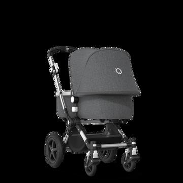 Bugaboo Cameleon 3 Plus seat and carrycot pushchair grey melange sun canopy, grey melange fabrics, aluminium base