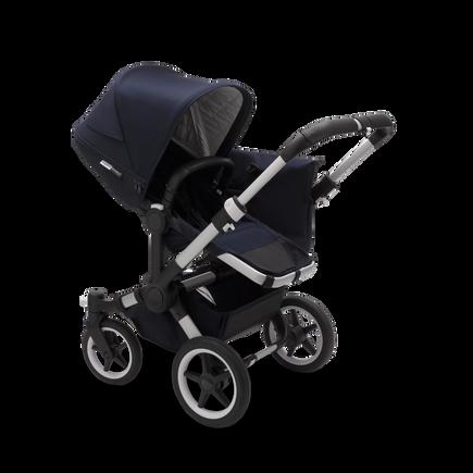 Bugaboo Donkey 3 Mono seat and bassinet stroller classic dark navy sun canopy, classic dark navy style set, aluminium base