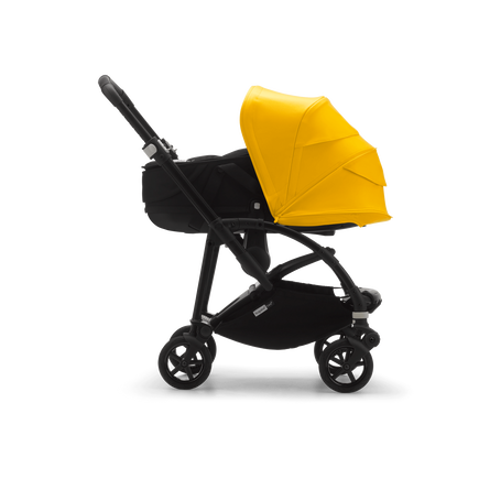 Bugaboo Bee 6 bassinet stroller lemon sun canopy, black bassinet, black chassis