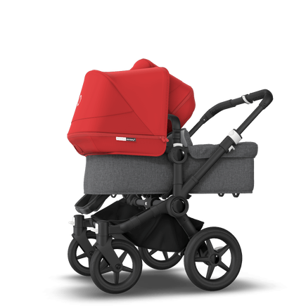 Bugaboo Donkey 3 Duo seat and bassinet stroller red sun canopy, grey melange style set, black base
