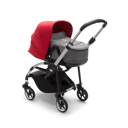Bugaboo Bee 6 bassinet and seat stroller red sun canopy, grey mélange fabrics, aluminium base