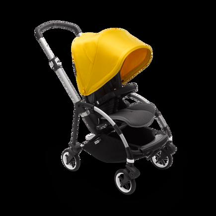 Bugaboo Bee 6 seat stroller lemon yellow sun canopy, grey mélange fabrics, aluminium base