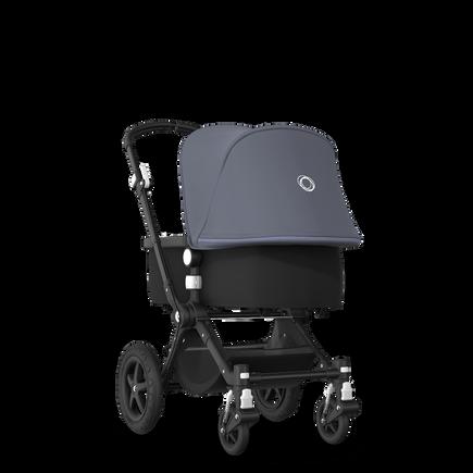EU - Cameleon 3+ Seat and Bassinet stroller steel blue sun canopy, black fabrics, black base