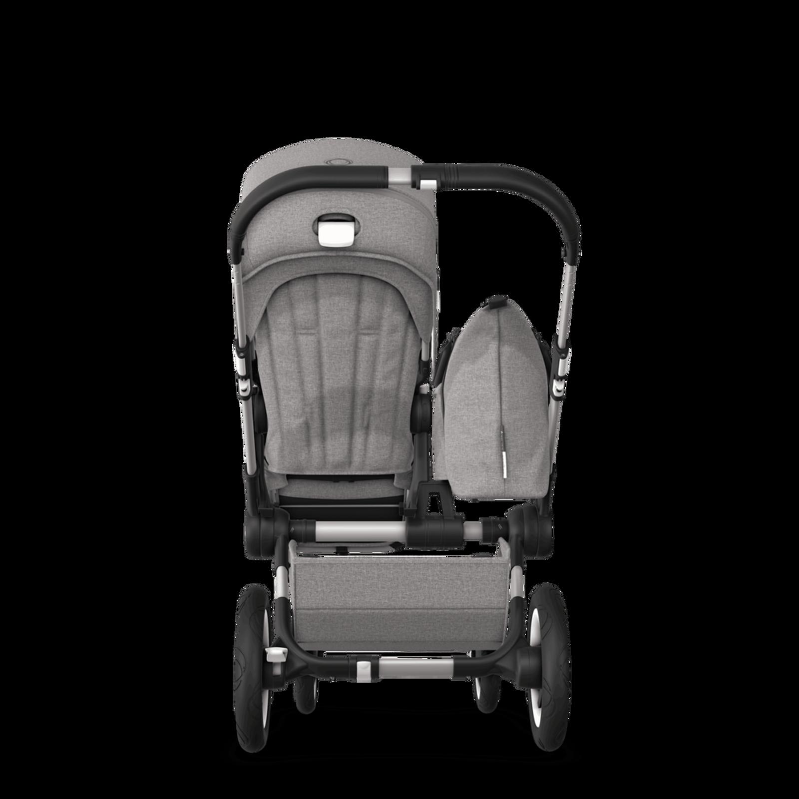 EU Bugaboo Donkey 2 Mono Seat and bassinet Mineral Light Grey melange, Black Chassis