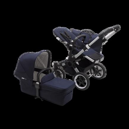 Bugaboo Donkey 3 Mono seat and carrycot pushchair classic dark navy sun canopy, classic dark navy style set, aluminium base