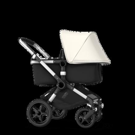 Bugaboo Fox fresh white sun canopy, black fabrics, aluminium chassis