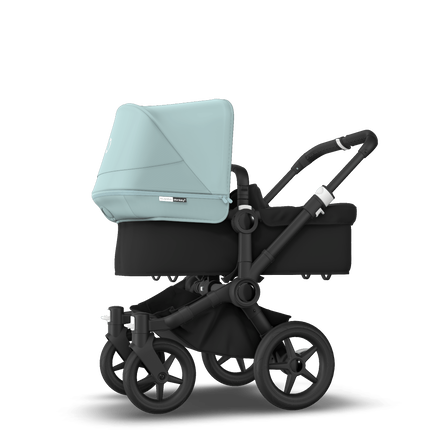Bugaboo Donkey 3 Mono seat and bassinet stroller vapor blue sun canopy, black style set, black base