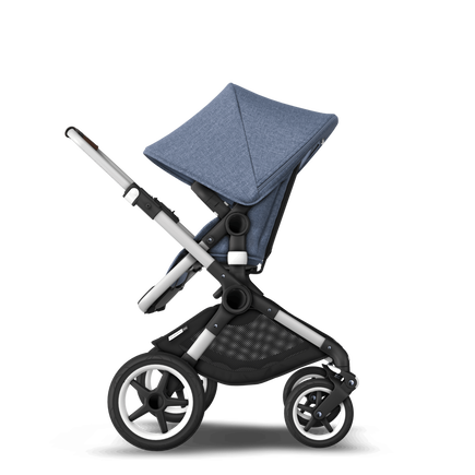 Bugaboo Fox blue melange sun canopy, blue melange fabric, aluminium chassis