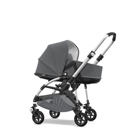 Bugaboo Bee 5 seat and bassinet stroller classic collection grey melange sun canopy, classic collection grey melange fabrics, aluminium base