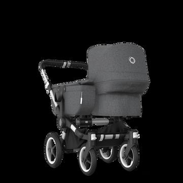 Bugaboo Donkey 3 Mono seat and bassinet stroller grey melange sun canopy, grey melange style set, aluminium base