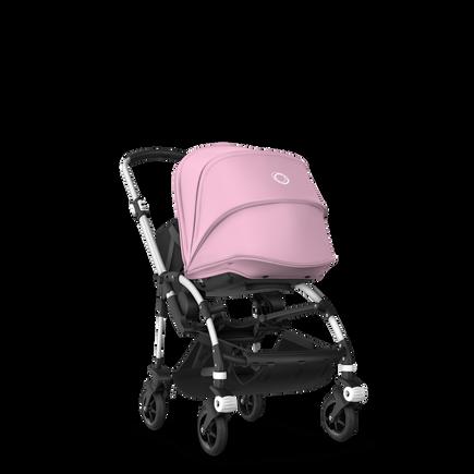 Bugaboo Bee 5 seat and bassinet stroller soft pink sun canopy, black fabrics, aluminium base