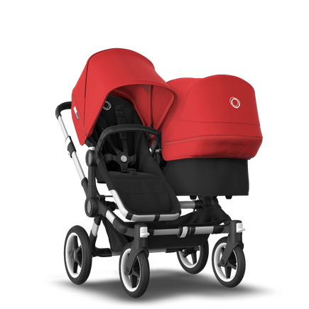 Bugaboo Donkey 3 Duo seat and bassinet stroller red sun canopy, black style set, aluminium base