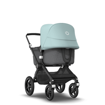 Bugaboo Fox 2 seat and bassinet stroller vapor blue sun canopy, grey melange fabrics, black base