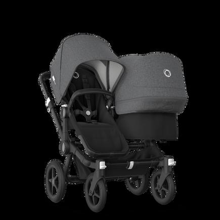 Bugaboo Donkey 3 Duo seat and bassinet stroller grey melange sun canopy, black fabrics, black base
